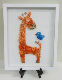 Giraffe - Framed Nursery Button Art