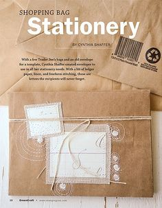 Stationery made from shopping bags. Find the DIY by Cynthia Shaffer in GreenCraft Autumn 2011.