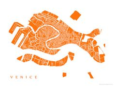 Venice Map Print Italy Art Poster Print by CartoCreative on Etsy