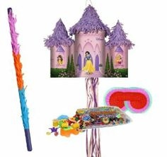 """Disney Princess Pull-String Pinata Party Pack Including Pinata, Pinata Candy and Toy Filler, Buster and Blindfold by Pinata. $46.99. Includes pinata. Does not include fillers or favors. This is an officially licensed ¬ Disney product. Includes approximately 2 pounds of candy and toys. Caution: not recommended for children under 3 years of age. Includes one hard plastic pinata buster that measures approximately 30"""". Caution: use only under adult supervision. Includes one blindf..."""