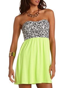 Aztec 2-Fer Tube Dress #lime #green Get 10% off with promo code STURATE13