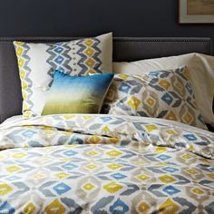 INSPIRATION - NO LONGER AVAILABLE - Organic Winter Ikat Duvet Cover + Shams | West Elm