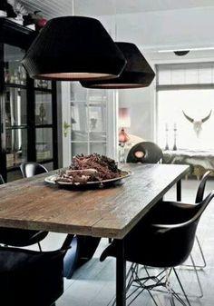 Tafel stoel zwart wit hout