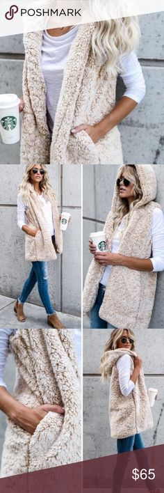 "Cozy Beige Sherpa Vest Obsessed! My favorite beige oatmeal sherpa vest! The softest and coziest piece of clothing you'll own! Featuring jersey lining, pockets and a hood! 100% polyester. 30"" length. Model is wearing small.   Approx Sizing: (S) Length: under arm to hem 21-22""       Bust: 31-34""  (M) Length: 21-22""        Bust: 35-38""  (L) Length: 21-22""       Bust: 39-41""        ▫️Add to Bundle"" to add more items in my closet or ""Buy"" to checkout here with your size.  ↓Follow me on Instagram…"