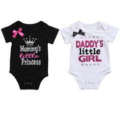 Overall for Newborn Baby Clothes Girls Romper Summer Daddy's Little Girl Letter Print Jumpsuit Short Sleeve Outfit Black White