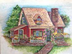 Original English cottage painting on canvas by Artbyjpennington