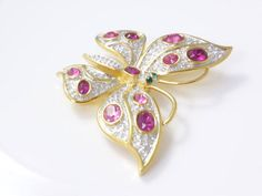 Butterfly Brooch, Crystal Butterfly, Crystal and Gold Butterfly, Vintage, Jewelry by Ciro by perlizjewelcreations on Etsy