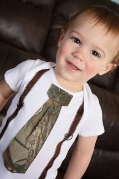 Baby boy camo tie shirt... so cute for a ring bearer to wear #Christmas #thanksgiving #Holiday #quote