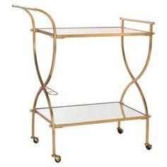 Francesca Mirrored Bar Cart in Gold