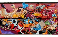"""Inappropriate Disney Street Art Shows Up In Luxembourg. European street art collective """"The Wierd"""" teamed up with various artists (CONE, Sumo, VIDAM, Dexter, Rookie, LowBros, Frau Isa, HrvBias, Look, Nychos, and Spike) to paint this mural in Differdange,"""