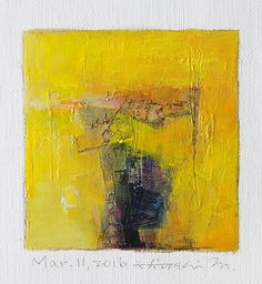 Mar. 11, 2016 - Original Abstract Oil Painting - 9x9 painting (9 x 9 cm - app. 4 x 4 inch) with 8 x 10 inch mat