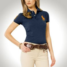 Ralph Lauren Women Navy Soft Orange Big Pony Polo  http://www.ralph-laurenoutlet.com