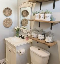 Guest Bathroom Makeover Ideas On A Budget - Bathroom Decorating - Bathroom Decor Half Bathroom Decor, Bathroom Wall Cabinets, Bathroom Interior, Remodel Bathroom, Bathroom Modern, Master Bathroom, Bathroom Vanities, Bathroom Small, Bathroom Remodeling
