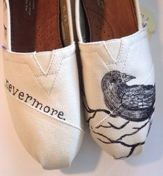 Hand-painted Edgar Allan Poe inspired TOMS. Made to order and 100% customizable to your liking. Please specify shoe size and color you would like