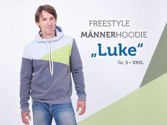 Schnittmuster Kapuzenpullover - Freestyle Hoodie für Männer in Pacthworkoptik nähen (Größe S - XXXL) - mit Nähvideo - sewing pattern