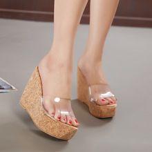 Envío gratis 2016 nuevo verano transparentes cuñas de plataforma sandalias de las mujeres de moda zapatos de tacón alto zapatillas femeninas tamaño 35-39(China (Mainland))