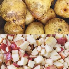 Local pear and apple roasted salad in the works for lunch today.
