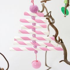 Colourful drinking party straw tree ornaments