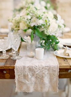 Like this look for spring - white flowers with green leaves, white lace runner, white china, crystal; would add clear votives, maybe shabby chic candelabra Lace Runner, Lace Table Runners, French Flowers, White Flowers, White Lace, Green Flowers, Deco Nature, Rustic Elegance, Rustic Charm