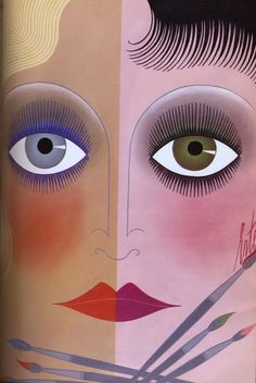 Vogue UK illustration by Erté, February 1969, with a view of the new make-up for spring 1969. This source says it appeared in 1969, while an alternate source says it was 1968