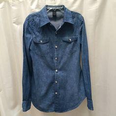 Vila denim shirt Slim fit shirt. Great condition. No flaws. ❌no trades❌ Vila clothes Tops Button Down Shirts