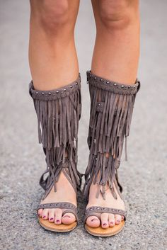 Hit The Note Fringe Grey Gladiator Sandals - NanaMacs.com - 5