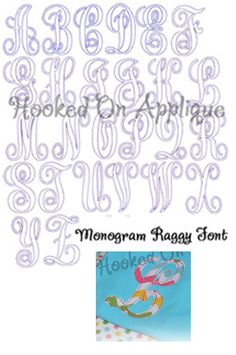 Elegant (KK) Applique Font—Raggy (Thin Bean Stitch) Sizes: 4x4, 5x7, (6x10—WILL NOT fit on Janome MB-4 Machine) Upper Case