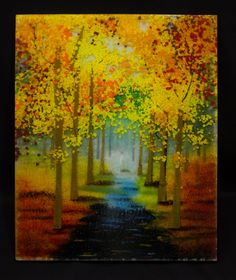 A Walk in the Fall Fused Glass Panel. by PezzulichGlassworks, via Etsy.