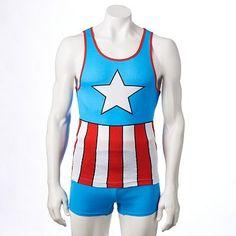 Marvel Captain America Tank Top & Shorts Set - Men