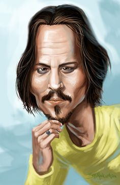 Johnny# Depp by Jeff Mangum#Caricature..FOLLOW THIS BOARD FOR GREAT CARICATURES OR ANY OF OUR OTHER CARICATURE BOARDS. WE HAVE A FEW SEPERATED BY THINGS LIKE ACTORS, MUSICIANS, POLITICS. SPORTS AND MORE...CHECK 'EM OUT!!