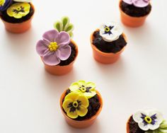Mini Flower Pot Cupcakes (Crumbled Brownie Filling, Chocolate Flower Pot Molds, and Royal Icing Flowers)