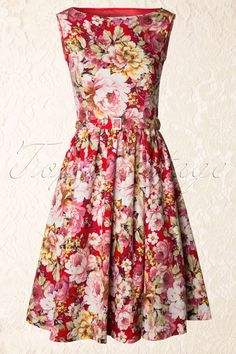Lindy Bop - 50s Audrey Floral Semi Swing Dress in Red and White