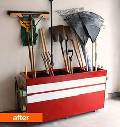 Upcycle an old file cabinet to organize your garage or garden shed. This site has more ideas for old file cabinets. Neat. File-cabinets-reuse-storage