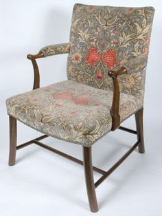Mahogany Armchair & Textile, William Morris & Co., c.1875-1900. Wightwick Manor © National Trust / Sophia Farley and Claire Reeves #William_Morris #Morris_and_Co #chair