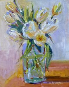 Nancy Standlee Fine Art: Impressionist Oil Flower Painting, White ...