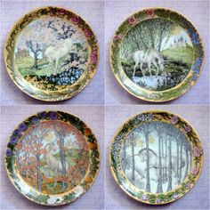 Vintage Hutschenreuther Plates;  Enchanted Seasons of a Unicorn;   ENTIRE COLLECTION of 4 plates!  by BoutiqueAmourVintage