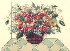 "Fused Glass ""Basket of Hydrangeas"" for Kitchen Backsplash | Designer Glass Mosaics|Designer Glass Mosaics"