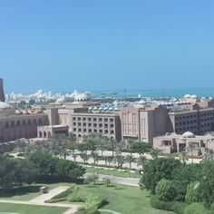 Arriving at Emirates Palace Hotel grounds, Abu Dhabi in a private helicopter