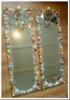 Bejwelled jewelled mirrors upcycled mirrors, boudoir mirrors