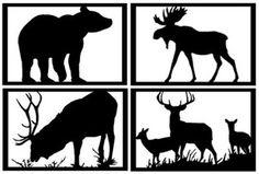 Bear Elk Deer Moose SET 4 Wildlife Silhouette Metal Wall Art Decor Country Gifts