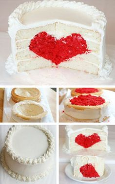 Hide heart in the cake  A creative way to express your love.