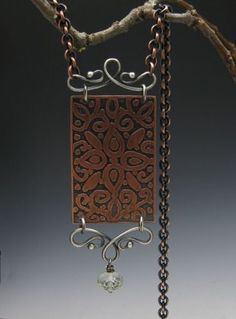 RESERVED for Gabrielle-Etched Copper, Fine Silver Necklace