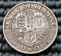 (R51) 1901 Queen Victoria Silver One Shilling Coin KM# 780