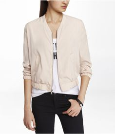 Express Soft Bomber Jacket in mink -- Own this and love it as an elegant layer.
