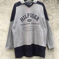 TOMMY HILFIGER vintage 90s Varsity Sports Tommy Hilfiger multicolour collar  shirt size L 02e339932