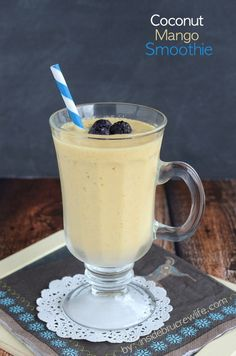 Coconut Mango Smoothie from www.insidebrucrewlife.com - coconut milk, frozen mangos, and protein powder for a delicious meal option
