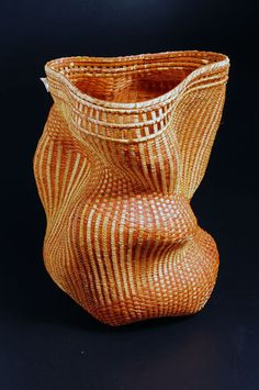 """Polly Adams Sutton """"Blast"""" cedar bark, ash and copper wire baskets amazing shapes, inspired color work, incredible technique"""