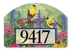 Magnet Works Yard Designs Yard Sign - Garden Finches Design Address Plaque