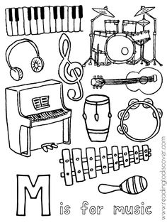 M is for music coloring page for preschoolers. A fun, free printable for your preschooler.