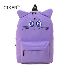 13.05$  Buy here - http://ali7gl.shopchina.info/go.php?t=32659915189 - CIKER Harajuku Style Backpack Sailor Moon Nylon Backpack Cute Cat Shoulder Bag School Bags For Teenager Girls Book Bag Rucksack 13.05$ #magazineonlinewebsite